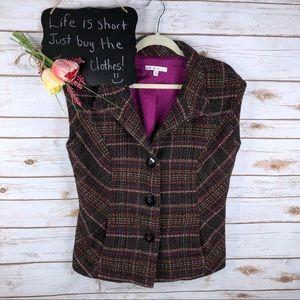 Cabi checkered wool blend button sleeveless vest